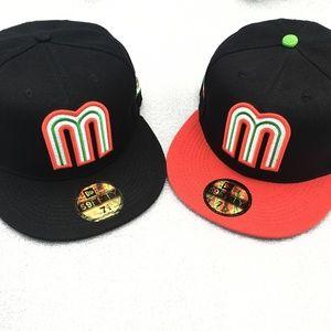 NEW 59 Fifty WBC Mexico Baseball Cap Black & Red